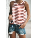 Womens Cool Red Striped Pattern Round Neck Sports Tank Sleeveless T-Shirt