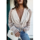 Womens Chic Plain White Polka Dot Printed V-Neck Trumpet Long Sleeve Sheer Mesh Blouse Top