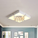 Square/Rectangle Flushmount Lamp Modernism Metal Led White Ceiling Light Fixture with Crystal Ball, 19.5