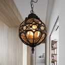 Black/Brass Orb Pendant Lighting Vintage Amber Glass 1 Light Restaurant Hanging Lamp with Cage