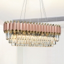 Crystal Block Oval Chandelier Lamp Traditional 8 Heads Dining Room Hanging Light Fixture in Gold