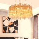 Gold Round Hanging Lamp Kit Postmodern 8 Heads Ridged Clear Crystal Chandelier Light