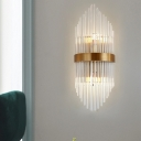 Shield Sconce Light Postmodern Crystal Rod 2/3 Heads Gold Wall Mounted Light for Living Room