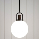 White Glass Sphere Pendant Light Fixture Modern 1 Head Black Hanging Lamp Kit with Wood Cap, 6