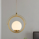 White Glass Globe Pendant Light Postmodern 1 Head Gold Hanging Ceiling Light with Ring Metal Frame