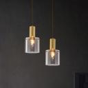 Brass Cylinder Hanging Light Kit Modern 1 Head Clear Glass Pendant Light Fixture for Dining Room