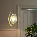 Oval Pendant Lamp Modern Metal 1 Head Gold Hanging Light Fixture with Clear Crystal Shade