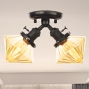 Amber/Clear Glass Diamond Ceiling Flush Mount Vintage Style 2 Heads Black/Bronze Semi Flush Mount Light over Table