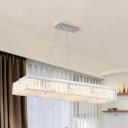 8 Lights Rectangular Chandelier Crystal Block Modern Pendant Lamp with Glass Diffuser