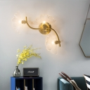 Ginkgo Leaves Wall Light Modern Decorative 1/3 Lights Clear Glass Wall Sconce Lighting in Brass