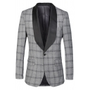 Mens Trendy Gray Plaid Printed Contrast Collar Single Button Back Slit Tuxedo Suit Blazer
