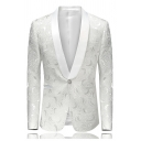 Mens Luxury Plain White Shawl Collar Single Button Tuxedo Jacquard Blazer