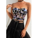 Trendy Women's Sleeveless Strapless Floral-Embroidered Black Mesh Crop Corset for Party