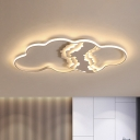 White Cloud Shape Flush Ceiling Light Minimalism Style LED Metal Ceiling Lamp in Warm/White/Remote Control Stepless Dimming Light