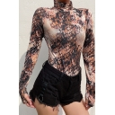 Female Edgy Looks Glove Sleeve High Neck Snake Printed Brown Slim Fit Bodysuit for Club