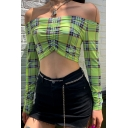 Edgy Girls' Long Sleeve Off The Shoulder Plaid Patterned Ruched Slim Fit Crop T-Shirt in Green
