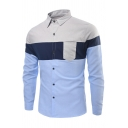Mens Simple Color Block Patched Pocket Long Sleeve Single Breasted Slim Fit Casual Shirt