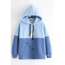 Girls Lovely Cartoon Duck Embroidery Long Sleeve Color Block Panel Oversized Blue Hoodie