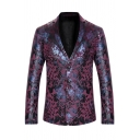 Mens Leisure Spots Printed Long Sleeve Button Front Corduroy Blazer for Nightclub