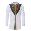 African Tribal Print Long Sleeves Stand Collar White Fitted Shirt for Men