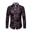 Mens Exclusive Plaid Houndstooth Patchwork Long Sleeve Single Breasted Vintage Shirt