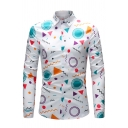 Lovely Colorful Geometric Pattern Long Sleeve Single Breasted White Fitted Shirt