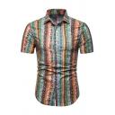 Hot Sale Geo-Tribal Stripes Print Short Sleeves Lapel Collar Slim Fit Button Up Shirt