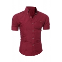 Mens Simple Plain Short Sleeve Pocket Decoration Slim Fitted Button Down Shirt