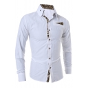 New Unique Leopard Panel Long Sleeve Button Down White Shirt for Metrosexual Men
