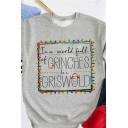 Hot Popular Letter GRINCHES GRISWOLD Print Long Sleeve Gray Christmas Sweatshirt