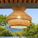 Bamboo 2 Tiers Hanging Lamp 1 Light Asian Woven Living Room Pendant Lighting in Wood