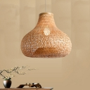 Onion Handwoven Suspension Lamp Asian Style Bamboo Hanging Lighting for Dining Room