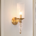 Indoor Wall Light Fixture with Cylindrical Clear Glass Shade Mid Century 1 Head Wall Sconce in Brass