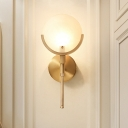 Brass Elliptical Wall Lamp Colonialist Cream Glass 1 Head Living Room Sconce Light Fixture