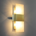 Gold Rectangle Wall Sconce Colonial Marble 2 Bulbs Living Room Flush Mount Wall Light