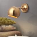 Single Light Gold Finish Wall Mount Lamp Minimalist Dome Iron Sconce Light Fixture