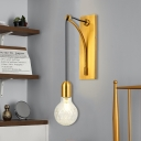 Clear Lattice Glass Wall Mounted Light Simple Single Exposed Bulb Wall Sconce with Gold Metal Backplate