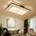 LED Rectangle Flush Mount Lighting Fixture Modern White Acrylic Living Room Close to Ceiling Light in 3 Color Light, 36