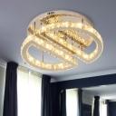 LED Semi Flush Mount Simple Half Circle Crystal Semi Flush Light Fixture in Silver for Bedroom, Warm/White/3 Color Light
