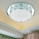 Chrome Floral Flush Mount Lighting Modern Crystal LED Living Room Ceiling Fixture in Warm/White Light, Recessed/Surface Mounted