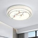 LED Bedroom Ceiling Light Fixture Simple White Flush Mount with Drum Crystal Shade in White/3 Color Light, A/B