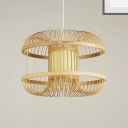 Woven Ceiling Pendant Light with Inner Parchment Shade Country Style 1 Light Drop Ceiling Light in Wood