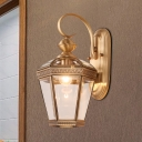 Curved Armed Sconce Light Traditionary Metal 1 Head Brass Wall Mounted Lamp for Balcony, 6