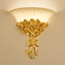 1 Light Rose Flush Sconce Light Modern Exquisite Beige Resin Wall Lighting Ideas