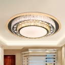 Simple Style Round Flush Mount Lamp Clear Crystal Bedroom LED Ceiling Light Fixture