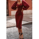 Ladies' Elegant Formal Bouffant Sleeve Surplice Neck Plain Mid Bodycon Evening Gown Dress