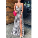 Ladies' Formal Sleeveless Deep V-Neck Polka Dot High Slit Side Bow-Tie Fit Maxi Prom Flowy Cami Dress in White