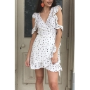 White Cute Ladies' Short Sleeve Surplice Neck Polka Dot Ruffled Trim Bow Tie Waist Short Wrap A-Line Dress