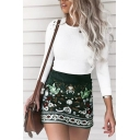 Unique Ethnic High Waist Zipper Back Floral Print Corduroy Short Tight A-Line Skirt for Women in Green