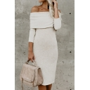 Elegant White Long Sleeve Off The Shoulder Slit Back Wool Midi Sheath Sweater Dress for Ladies